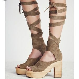 Free People Olive Touch the Sky Suede Heels NWOT